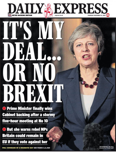 'Splits', 'cracks' and a fight ahead: UK front pages react to May's cabinet deal