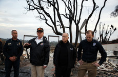 'Sad' Donald Trump visits site of California wildfires and again blames forest mismanagement