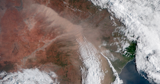 Red haze: Sydney has been hit by a 500km dust storm