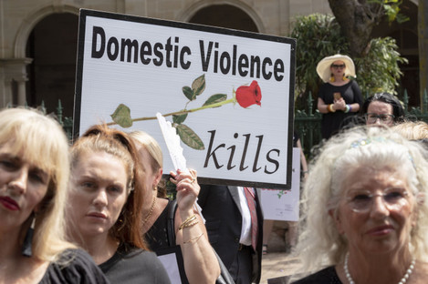 Rallies against domestic violence have taken place around the world, the Red Rose rally was held in Australia last month.