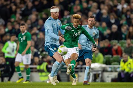 Callum Robinson facing Northern Ireland earlier this month.