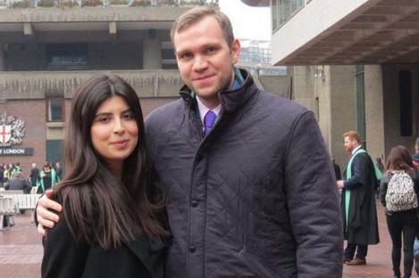 Matthew Hedges with his wife Daniela Tejada