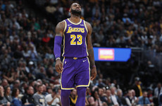 LeBron struggles as Lakers miss season-high 30 three-pointers in loss to Nuggets