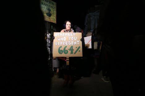 29/11/2018. Kate O'Hara protests for Free Safe Legal Abortion Legislation outside Leinster House
