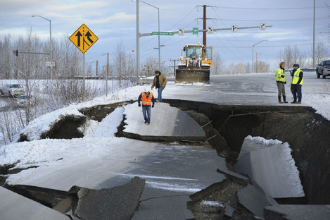 The on-ramp to Minnesota Drive in Anchorage, Alaska shows the effects of the morning's earthquake which caused extensive damage to the local area.