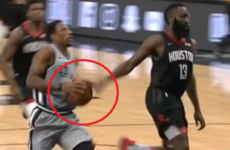 James Harden nips in for casual no-look block on DeMar DeRozan