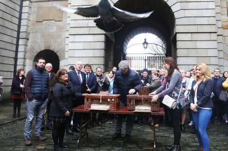 As part of the Missing Persons Day ceremony, family members released a number of homing pigeons.