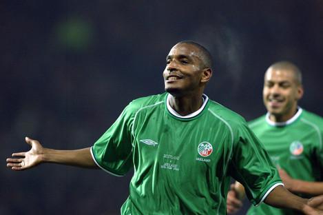 Clinton Morrison celebrates scoring for Ireland in 2003.