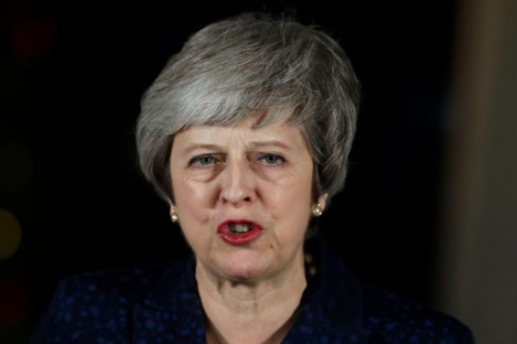British Prime Minister Theresa May delivering a speech outside 10 Downing Street in London after the vote.
