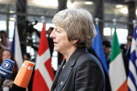 Theresa May pictured at the European Council Summit in Brussels today.