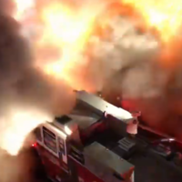 Huge backdraft filmed by onlookers as New York Irish bar destroyed by fire