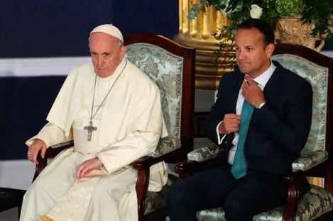 Pope Francis and Taoiseach Leo Varadkar sit in Dublin Castle.