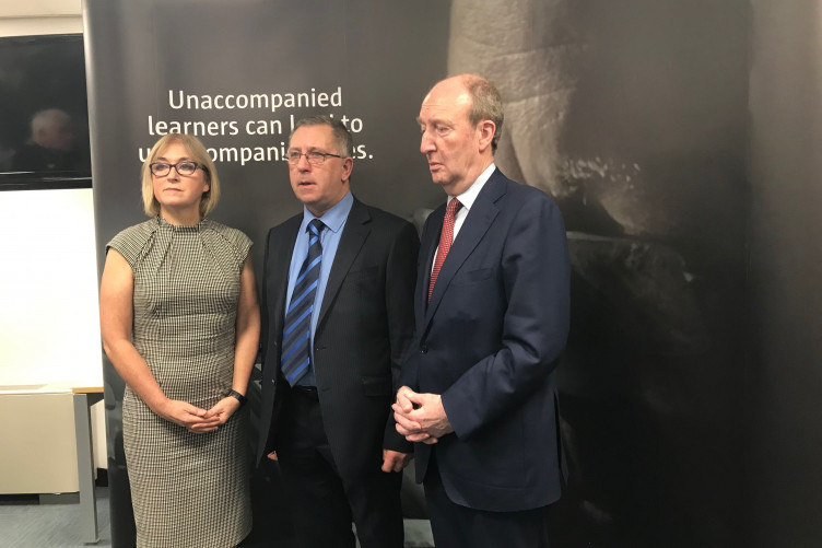 RSA CEO Moyagh Murdock, Noel Clancy, and Minister Shane Ross