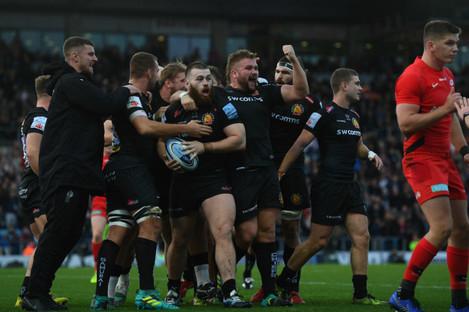 Exeter celebrates Luke Cowan-Dickie's try