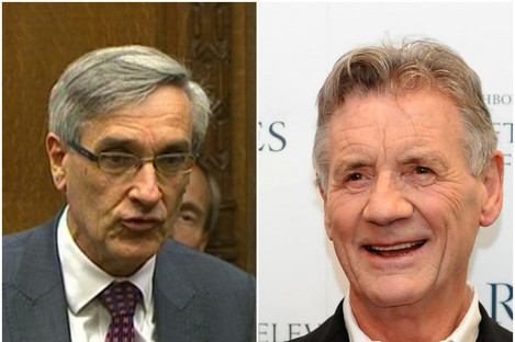 """MP John Redwood (left) and Monty Python star Michael Palin will have """"Sir"""" added to their titles."""