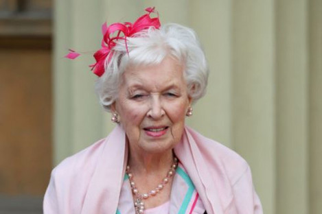 Dame June Whitfield after she was made a dame at Buckingham Palace in November 2017.