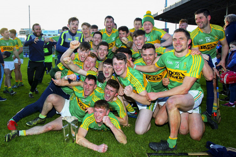 Clonoulty-Rossmore players celebrate their Tipperary senior final victory.