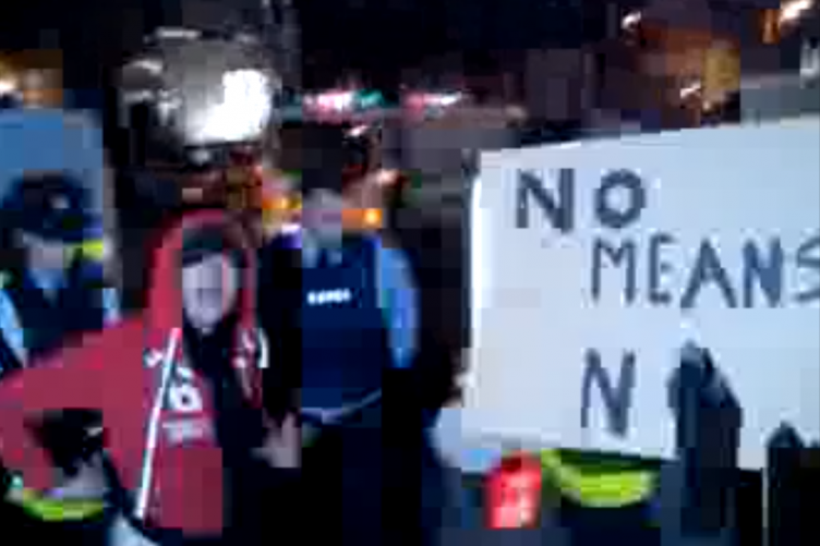 A grab from a video showing gardaí and demonstrators outside the Dáil last night