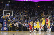 Watch: 44-point Harden sinks Warriors with incredible game-winning three-pointer in OT