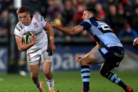 Ulster's Johnny McPhillips and Steven Shingler of Cardiff Blues.