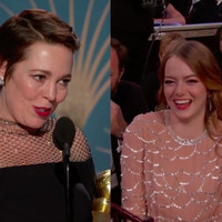 """My b*tches!"" Olivia Colman shouts out Emma Stone and Rachel Weisz in her Golden Globes speech"