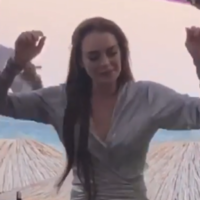 Lindsay Lohan is scarlet over those infamous dance moves... it's The Dredge