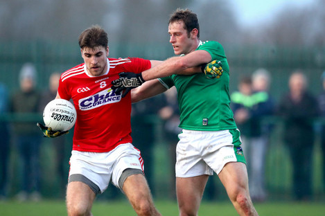 Limerick's Padraig Scanlan and Ian Maguire of Cork in action last weekend.