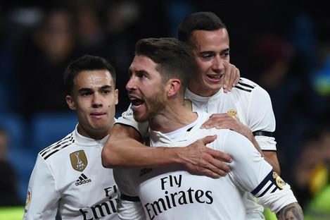 Real Madrid celebrate Sergio Ramos' goal against Leganes.