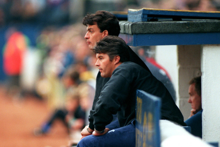 John Sitton and co-manager Chris Turner look on during Leyton Orient's 1995 clash with Oxford United.
