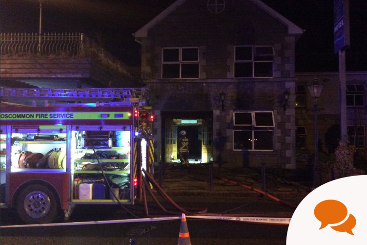 Emergency services at the scenes of a fire at a hotel in Rooskey during the week.