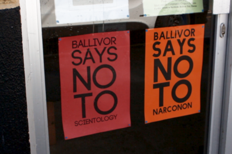 Signs on the door of a local community centre in Ballivor.