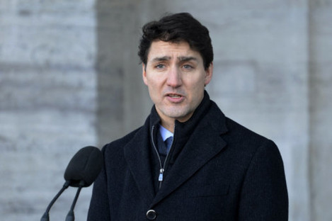 Canada's Prime Minister Justin Trudeau reacts to the sentencing.