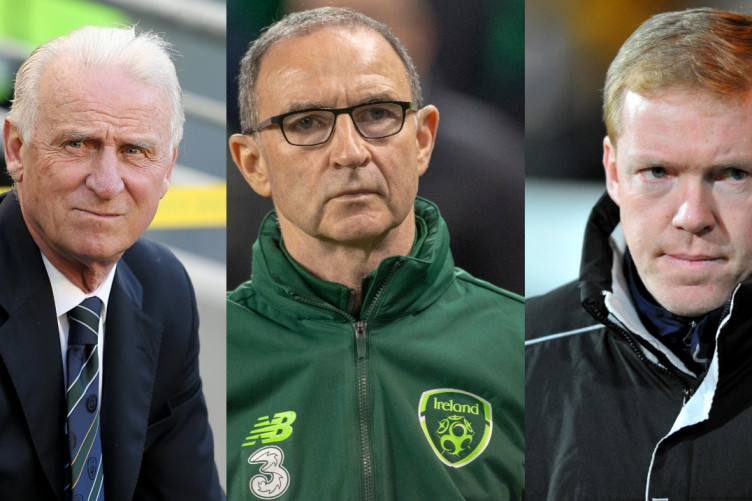 O'Neill, centre, with his predecessors Giovanni Trapattoni, left, and Steve Staunton, right.