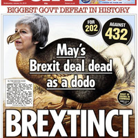 'Brextinct' and 'historic humiliation': UK papers lambast May after huge defeat