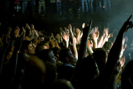 Fans at a gig in a Dublin venue