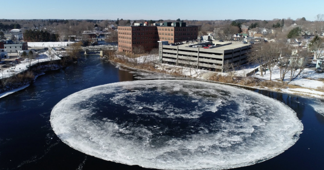 A huge spinning ice disc on a Maine river has the locals transfixed