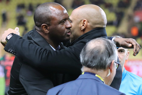 Nice boss Patrick Vieira (l) and Monaco head coach Thierry Henry (r).