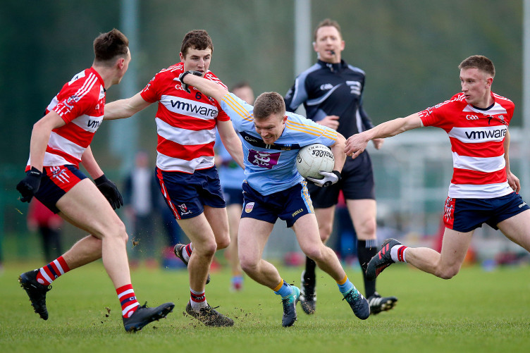 Monaghan's Conor McCarthy in action against the CIT defence.