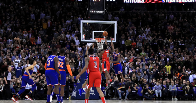 Knicks throw away 19-point lead and lose on last-second goaltending call in London