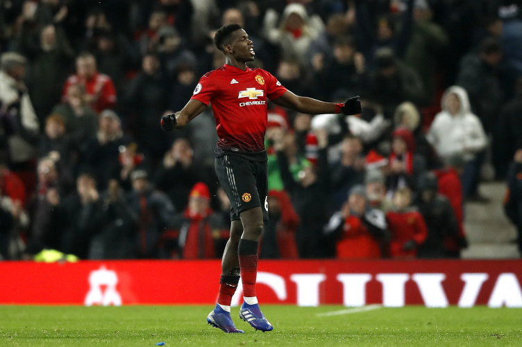 Paul Pogba celebrates.