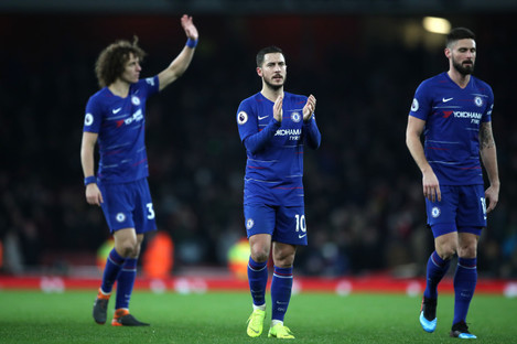 Chelsea's Eden Hazard applauds fans after the final whistle during the Premier League match at The Emirates Stadium.