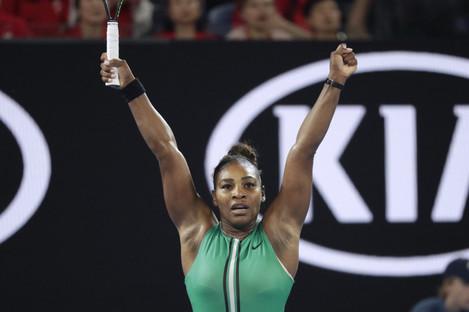 Williams celebrates victory in Melbourne.