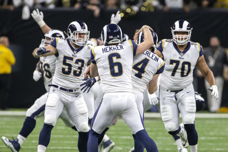 The LA Rams celebrating their victory over the Saints to book their place at the Super Bowl.