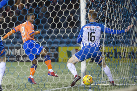 Rangers' Jermain Defoe scores his side's first goal of the game.