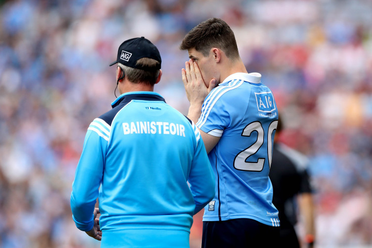 Jim Gavin with Diarmuid Connolly during the 2017 All-Ireland semi-final against Tyrone.