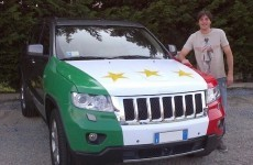 Low-key celebrations: Juve defender plasters jeep in three stars after league win