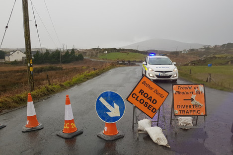 The scene in Gortahork, Donegal, Ireland, where four young men were killed in a road crash last night