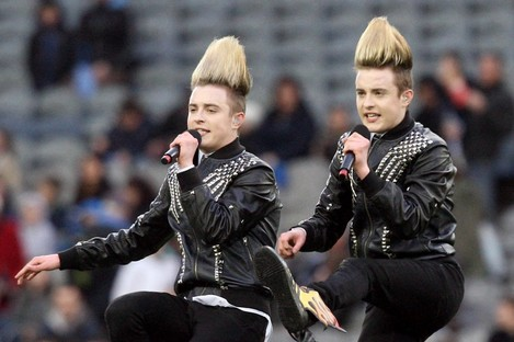 Jedward limbering up at Croke Park in 2011.