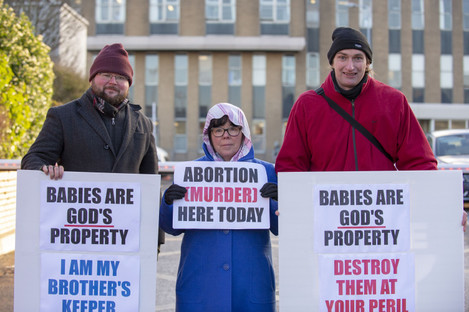 Pro life campaigners gathered outside Our Lady Of Lourdes Hospital in Drogheda today. (Left to right): Brian Ó Caithnia, Sandra Clonan and Charles Byrne.