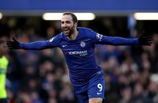 Higuain scores twice as Chelsea hammer Huddersfield